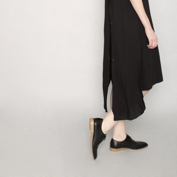 Signature Frayed Edge Dress - Black