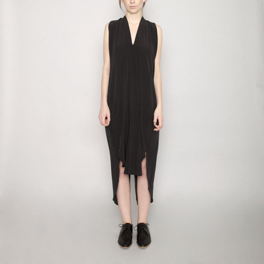 Signature Origami Silk Dress-Black