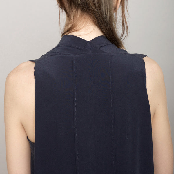 Signature Origami Silk Dress-Navy