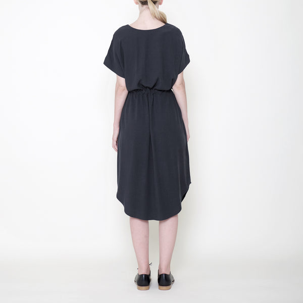 Signature Reversible Drawstring Dress - Charcoal