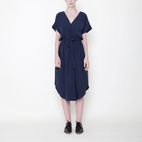 Signature Reversible Drawstring Dress - Navy