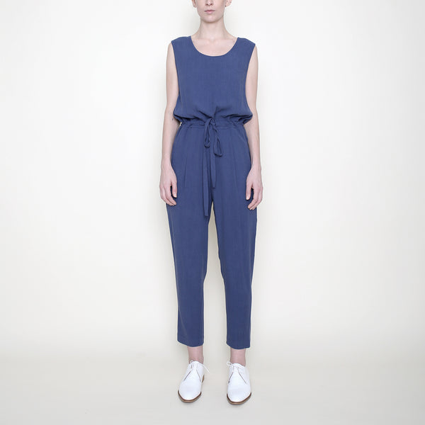 Sleeveless Drawstring Jumpsuit - Blue - SS18