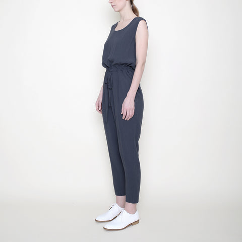 Sleeveless Drawstring Jumpsuit - Charcoal - SS18