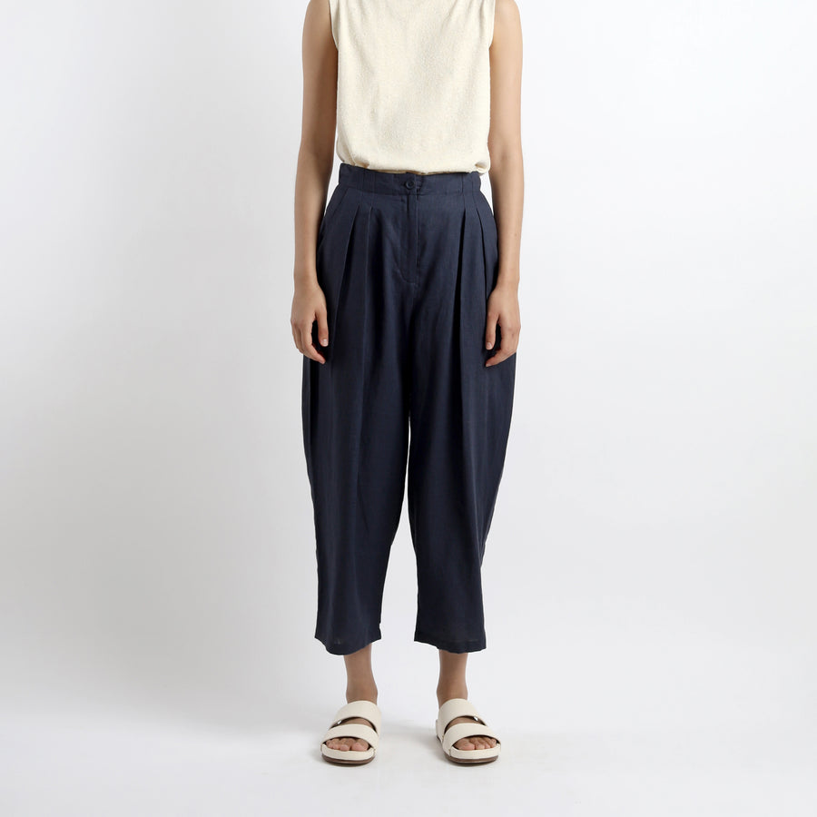 Summer Pleated Trouser - SS21 - Navy