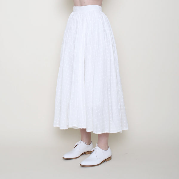 Summer Pleated Midi Skirt - Off-White Dots - SS18