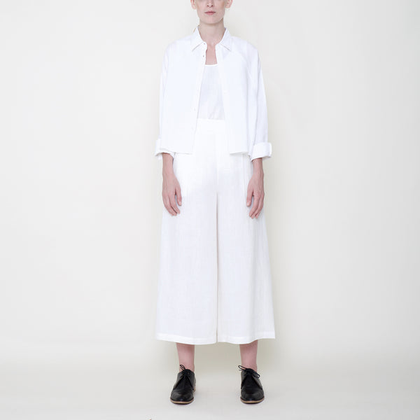 Signature Linen Cropped Wide Legged Trouser - Off-White