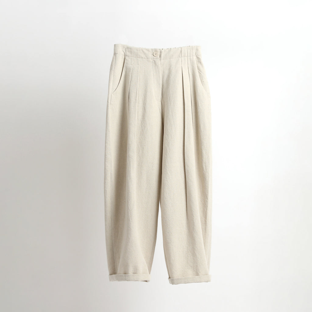 Canvas Pleated Trouser - SS21 - Beige