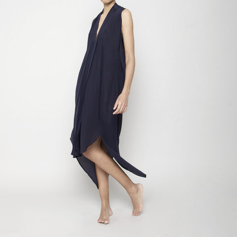 Origami Silk Dress- Navy SS16