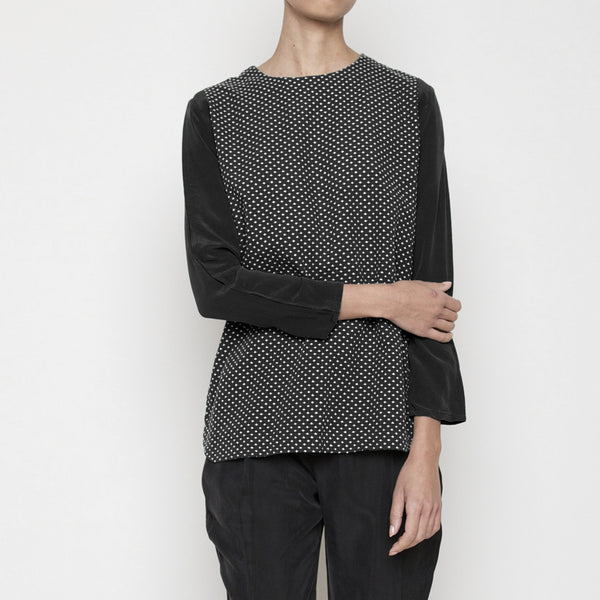 Cross-stitch long sleeves top - Black