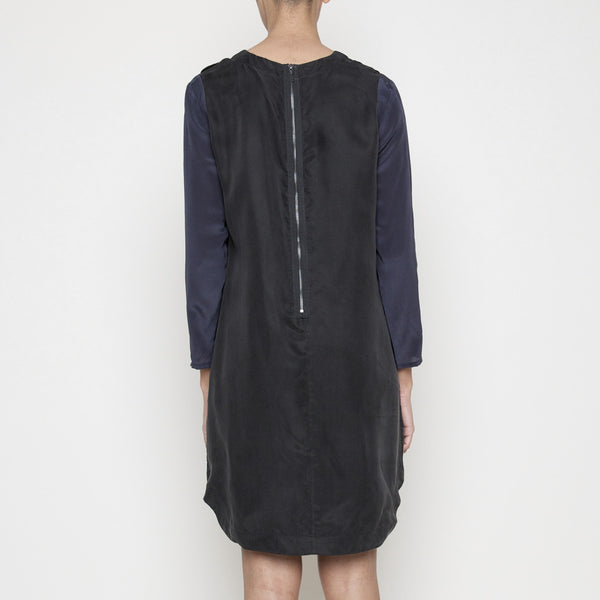 Contrast Sleeve Shift Dress FW14 - black/midnight blue