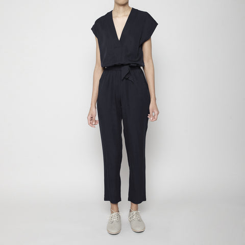 Signature V-Neck Jumpsuit- Charcoal