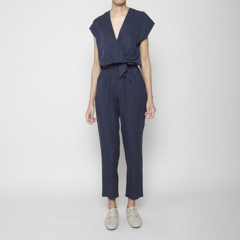 V-Neck Jumpsuit- Navy SS16