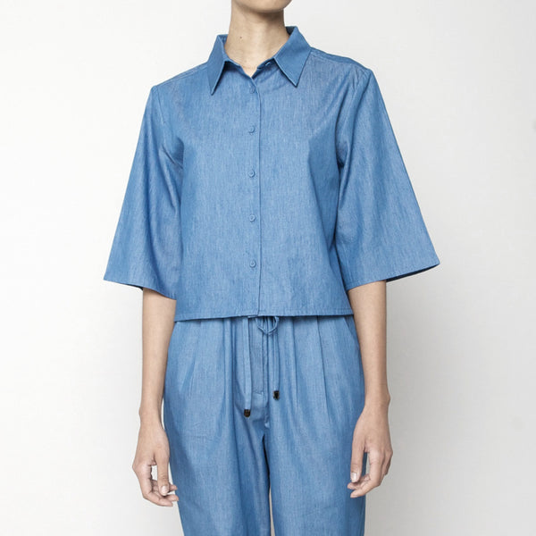 Back Pleated Button Up- Indigo SS16