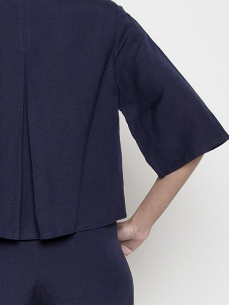 Back Pleated Button Up- Navy SS16