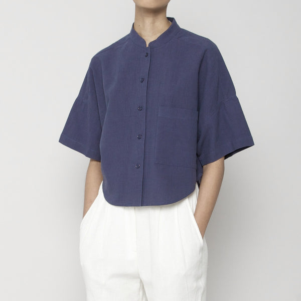 Pocket Cropped Shirt- Navy SS16