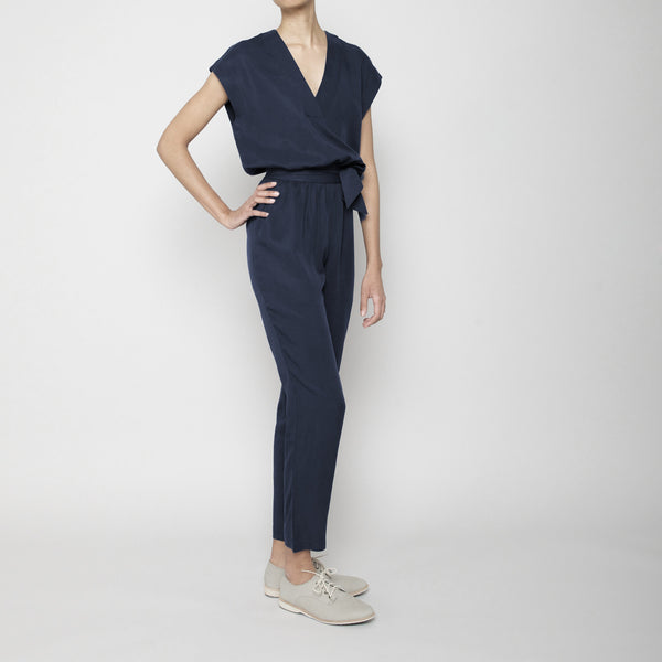 Signature V-Neck Jumpsuit- Navy