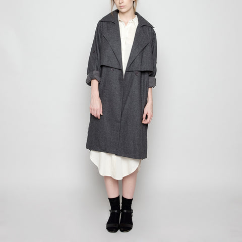 Wool Trench Coat - Gray FW16