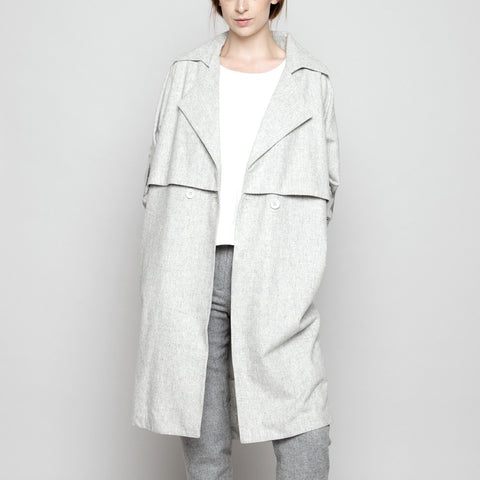 Wool Trench Coat - Light Gray FW16