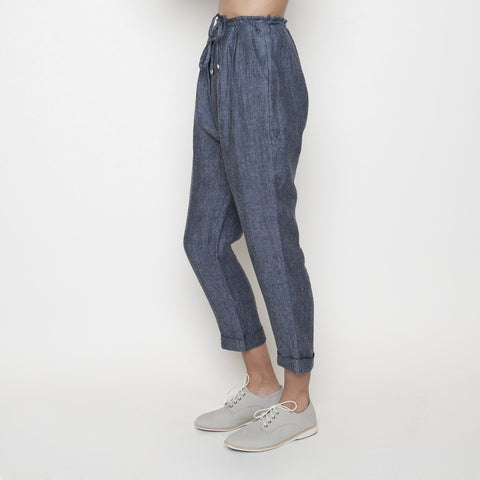 Linen Drawstring Pant RT16- Blue