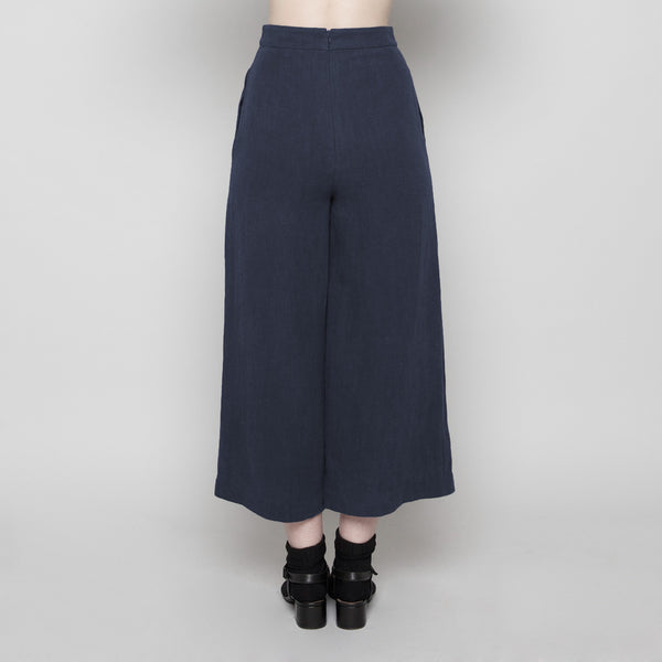 Wide-Legged Cropped Trouser- Navy FW16