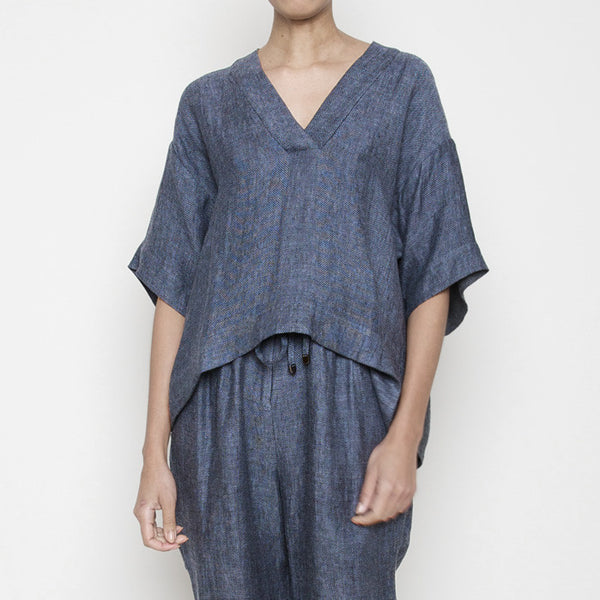 V Neck Kaftan Top R16- Blue