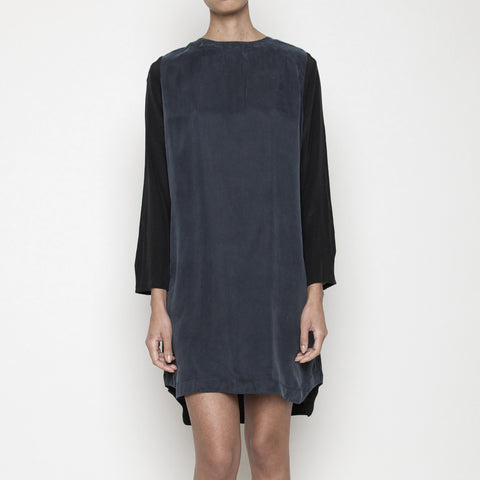 Contrast Sleeve Shift Dress FW14 - teal/black