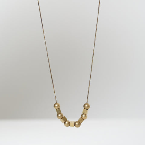 Sphere & Cube Brass Necklace