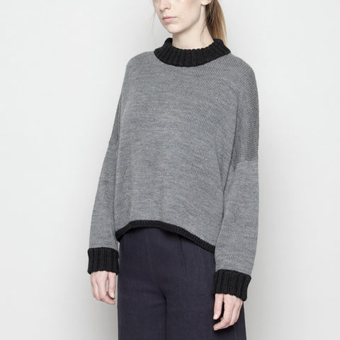 Mock-Neck Merino Sweater - Gray + Black FW16