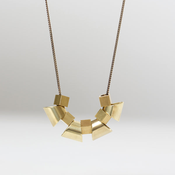 Trapezoid Cubes Brass Necklace