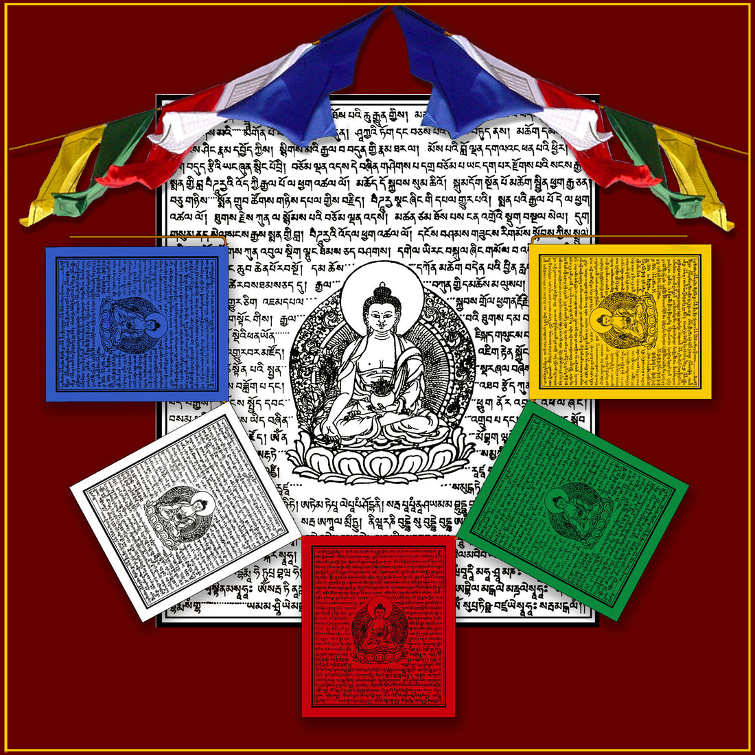 Medicine Buddha Prayer Flags - 5 flags on rope (6 ft. long)