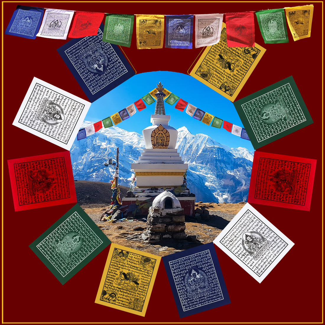 Mini Prayer Flag - Set of 10 on Rope<br>5 ft. Long