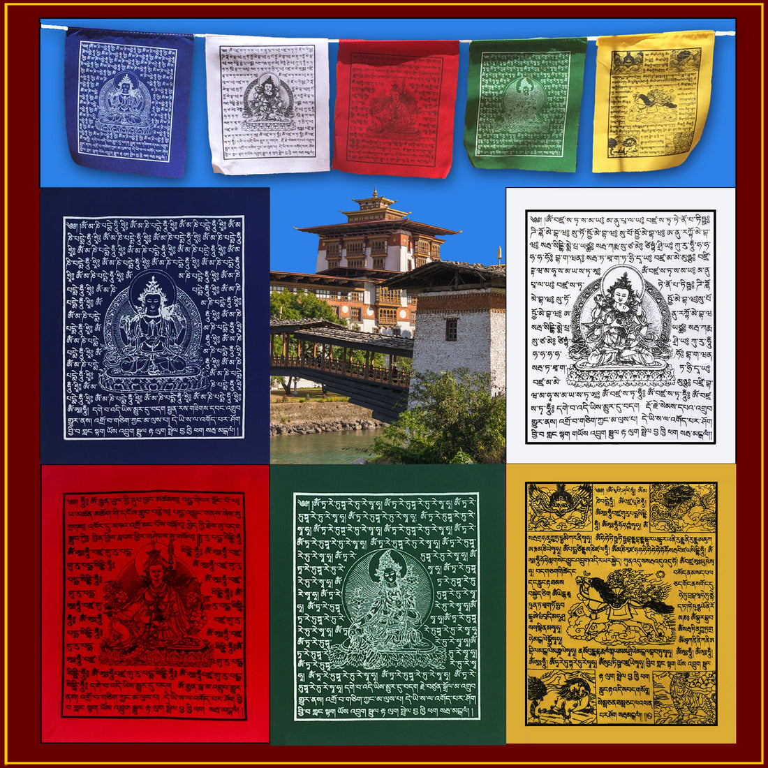 Mini Prayer Flag - Set of 5 on Rope<br>2.5 ft Long