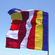 "Load image into Gallery viewer, Universal Buddhist Flag - 27""X 19"""