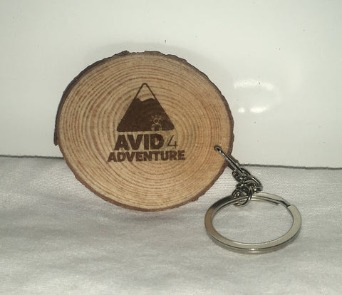 Avid4 Wood Slice Keychain