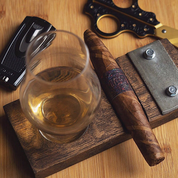 Cigar and Glencairn Whiskey Glass Holder