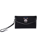 Lulu Clutch - Logo Flower in Charcoal - Vegan Leather Clutch Purse Handbag