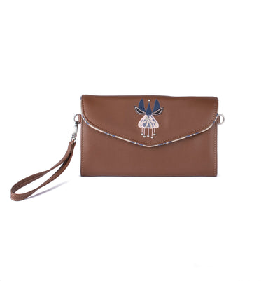 Lulu Clutch - Logo Flower in Tan - Vegan Leather Clutch Purse Handbag