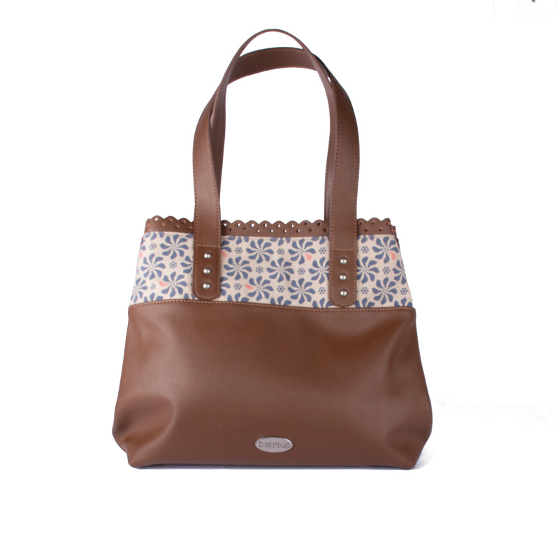 Mimi Tote - Logo Flower in Tan – Vegan Leather Tote Shoulder Bag