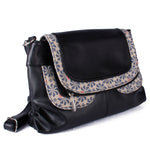 Sling Satchel - Logo Flower in Charcoal – Vegan Leather Cross-Body Handbag