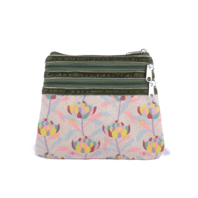 3 Zip Purse - Sunrise Waratah – Vegan Leather Purse