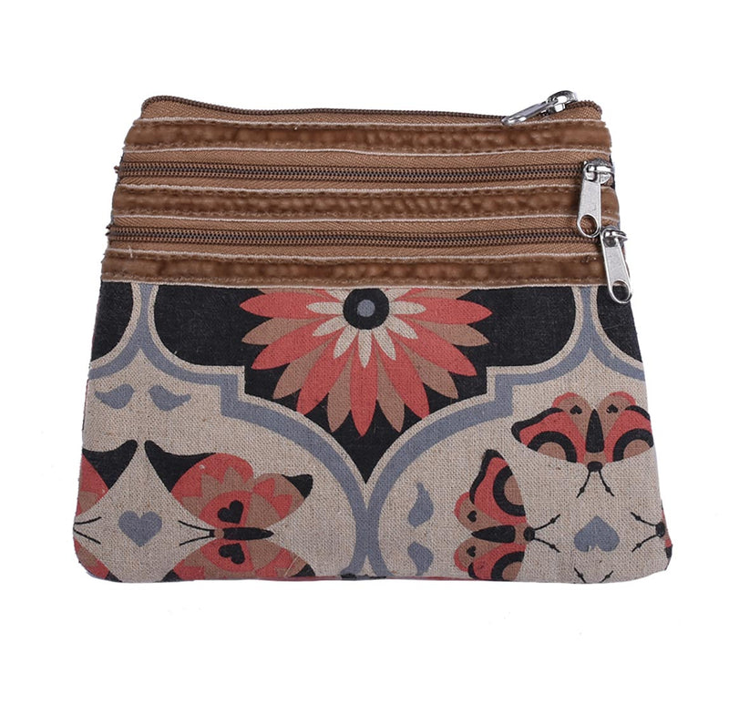 3 Zip Purse - Butterfly Mandala – Vegan Leather Purse