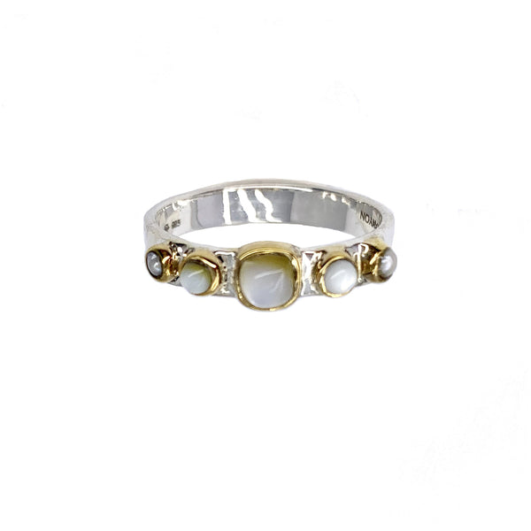 Bague multi pierres nacre