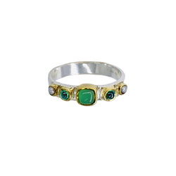 Bague multi pierres chrysoprase