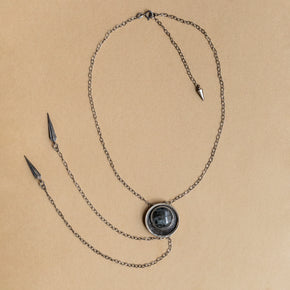 Hekate Bolo Necklace: Larvikite