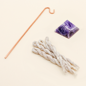 Crystal Pyramid Incense Stand + Rope Set: Amethyst
