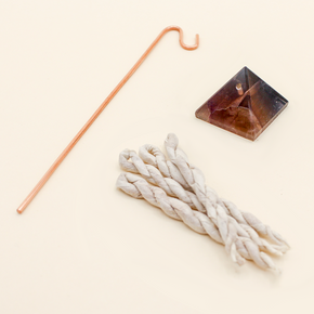 Crystal Pyramid Incense Stand + Rope Set: Fluorite