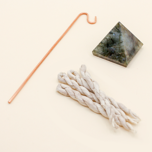 Crystal Pyramid Incense Stand + Rope Set: Labradorite