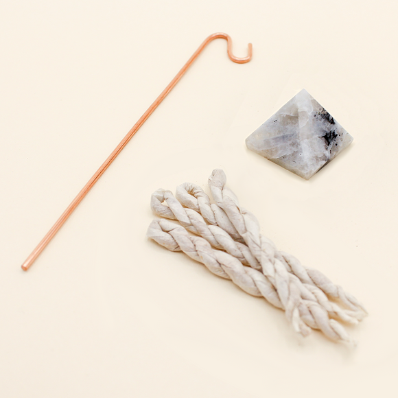 Moonstone Pyramid Incense Stand + Rope Kit