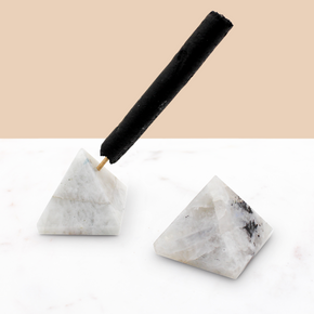 Crystal Pyramid Incense Stand + Rope Set: Moonstone