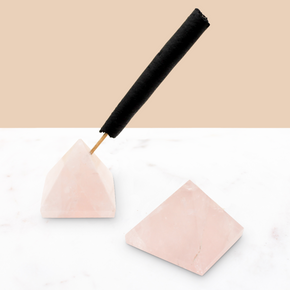 Crystal Pyramid Incense Stand + Rope Set: Rose Quartz